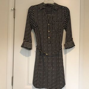 Black and white patterned belted dress